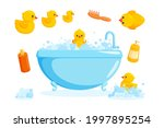 duck and bath with combs and...   Shutterstock .eps vector #1997895254