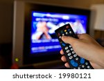 hand pointing a tv remote... | Shutterstock . vector #19980121