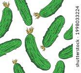 vector fresh cucumbers seamless ...   Shutterstock .eps vector #1998033224