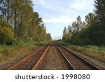 a set of train tracks in the... | Shutterstock . vector #1998080