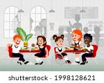 kids in a canteen buying and... | Shutterstock .eps vector #1998128621