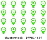 set of 20 icons in green button ...