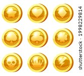 set of golden coins for game... | Shutterstock .eps vector #1998229814