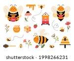 cute cartoon bee vector set....   Shutterstock .eps vector #1998266231