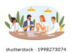colleagues sitting at dining... | Shutterstock .eps vector #1998273074