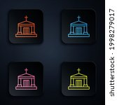 color neon line old crypt icon... | Shutterstock .eps vector #1998279017