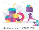 fat woman with wallet runs to... | Shutterstock .eps vector #1998310991
