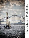Small photo of SYDNEY,AUSTRALIA - MARCH 30, 2014: A super-fast 18 foot skiff racing in the Alice Burton Memorial Trophy.