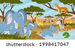 savanna animals. african summer ...   Shutterstock .eps vector #1998417047