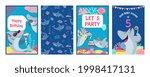 shark cards. cute character... | Shutterstock .eps vector #1998417131