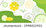 lemon and cucumber on abstract... | Shutterstock .eps vector #1998421931