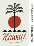 hawaii palm on waves surfing t... | Shutterstock .eps vector #1998449234