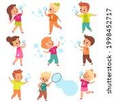 soap bubbles show. kids blow...   Shutterstock .eps vector #1998452717