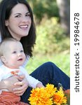 portrait of a young mother and... | Shutterstock . vector #19984678