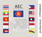AEC text background with flags of nations which are member of ASEAN Economic community - stock vector