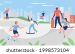 people skateboarding in urban...   Shutterstock .eps vector #1998573104