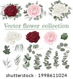 vector floral compositions. red ...   Shutterstock .eps vector #1998611024