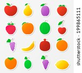set of fruit stickers. colorful ... | Shutterstock .eps vector #199865111