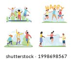 happy children jumping  playing ... | Shutterstock .eps vector #1998698567
