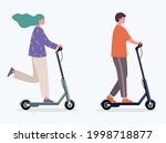 woman and man rides an electric ...   Shutterstock .eps vector #1998718877