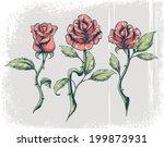 tattoo roses | Shutterstock .eps vector #199873931