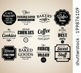 set of retro bakery labels