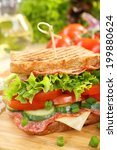 sandwich with cheese and salami ...   Shutterstock . vector #199880624