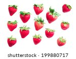 isolated group of strawberry on ... | Shutterstock . vector #199880717