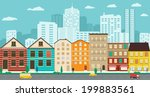 town streets with views of the... | Shutterstock .eps vector #199883561