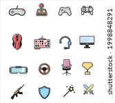 set of game icons with color in ...