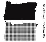 Dotted and Silhouette oregon map - stock vector