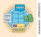 global sphere with online... | Shutterstock .eps vector #1998910271