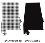 Dotted and Silhouette State of Alabama map - stock vector