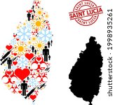 distress saint lucia stamp  and ... | Shutterstock .eps vector #1998935261