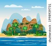 tropical island  rock mountains ... | Shutterstock .eps vector #1998939731