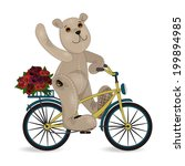 the bear on a bike with a... | Shutterstock .eps vector #199894985