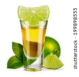 Small photo of Gold tequila shot with lime isolated on white background