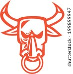 Illustration Of A Bull Cow Head ...