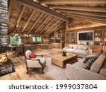 Chalet Style Living Room In The ...