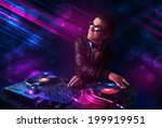attractive young dj playing on... | Shutterstock . vector #199919951