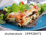 Stock photo vegetable lasagna with zucchini tomato and eggplant 199928471