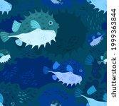marine life seamless pattern.... | Shutterstock .eps vector #1999363844