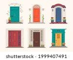 house doors. cartoon front...   Shutterstock .eps vector #1999407491