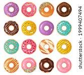 cartoon donuts. cute sweet... | Shutterstock .eps vector #1999407494