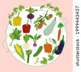vegetables simple set in round...   Shutterstock .eps vector #1999443437