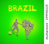 map of brazil with football... | Shutterstock .eps vector #199950125