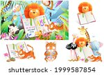 jungle zoo animals in tropical... | Shutterstock .eps vector #1999587854