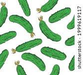 vector fresh cucumbers seamless ...   Shutterstock .eps vector #1999619117