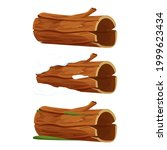 set old wood  tree log  trunk...   Shutterstock .eps vector #1999623434