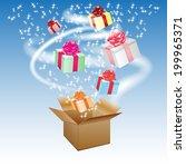 open cardboard box with an a...   Shutterstock . vector #199965371
